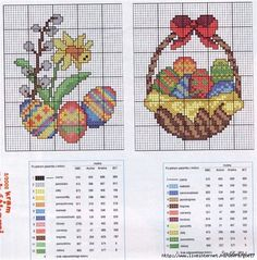 Cross stitch or needlepoint Easter pattern. Ever so festive.  Repinned by www.mygrowingtraditions.com