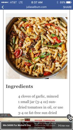 Pasta with sun dried tomatoes sauce