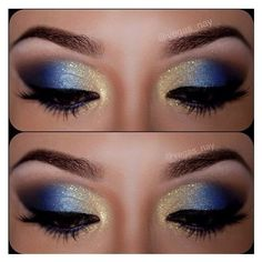 12 Gorgeous Blue and Gold Eye Makeup Looks and Tutorials ❤ liked on Polyvore featuring beauty products, makeup and eye makeup