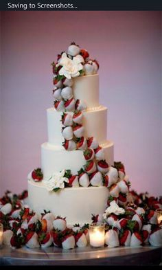Instead of flowers on a wedding cake, use chocolate covered strawberries! My dream wedding cake! I love chocolate covered strawberries! Perfect Wedding, Dream Wedding, Wedding Day, Wedding Stuff, Lace Wedding, Wedding Scene, Sparkle Wedding, Wedding Places, Wedding Dreams