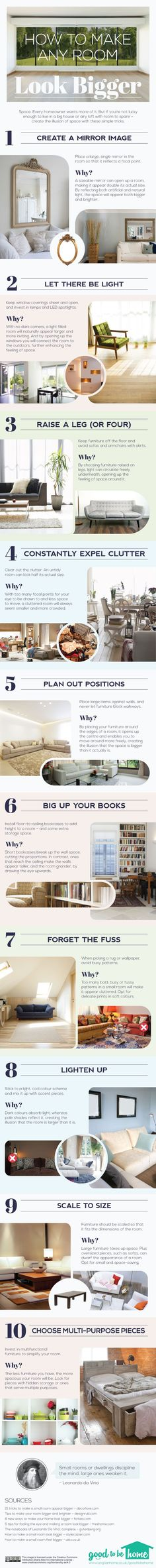 Space. Every homeowner wants more of it. But if you can't upsize, these steps show you how to make a room look bigger.   http://www.anglianhome.co.uk/goodtobehome/
