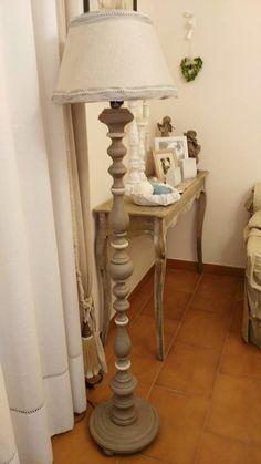 Lampada Paloma, Country Grey, French Linen, Old White, finito con Clear e Dark Wax Chalk Paint Annie Sloan www.ilparadisodisilvia.com