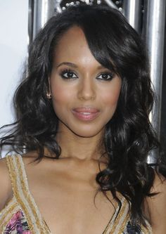 Kerry Washington Hairstyles: Long Curls with Bangs - Pretty Designs