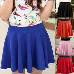 High Waist Skater Mini Skirt Jersey Plain Flared Pleated A-Line Short Free Size #Unbranded #ALine  Copy & paste to your browser to buy @ 7.16: http://goo.gl/gM6sV9
