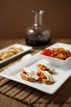 Tapas: Peri Peri Pepper-Almond Dip with Marinated Anchovies via @Jean | Lemons and Anchovies