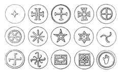 Hrnčířské značky / merki / gmerki - old Slavic symbols found on the pottery (various locations) || Váňa 1990, 184.