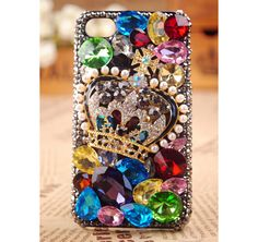 FREE SHIPPING Best iPhone 4S 4G Case Crown colorful rhinestone Crystals Best Cover for girls