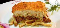 """Νόστιμη συνταγή μαγειρικής από """"Οι Γεύσεις της Ελένης""""       ΥΛΙΚΑ  1 1/2 πακ. Μακαρόνια Νο 2  700-800 gr Κιμά μοσχαρίσιο  2 κρεμμύδια τριμμένα  2 σκ. Σκόρδο πολτοποιημενες  1 κουτί ντοματάκια τριμμένα  Μπούκοβο γλυκό  Πάπρικα γλυκιά  Αλάτι  Πιπέρι  Μοσχοκάρυδο  Μπαχάρι  Ρεγκάτο τριμμένο  Κεφαλοτύρι πικάντικο τριμμένο    Για την μπεσαμελ...  2 κουτιά"""