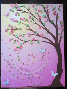 "18x24"" button tree- acrylic and buttons on stretched canvas. custom"