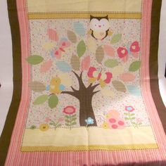 Owl In Tree Wall Art Panel and Owl Fabric Combo by NewAgain on Etsy