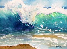 """Wave Color"" Original Fine Art Watercolor Painting by Carlin Blahnik. The sun illuminates colors of the ocean water. The waves crest of white, purple, green and yellow. The wave curl, translucent yellow at the top deepens to blue green at the bottom. Swirls of white foam, blue water and brown sand on the beach. http://www.carlinart.com/ Buy Prints: http://carlin-blahnik.artistwebsites.com/featured/wave-color-carlin-blahnik.html"