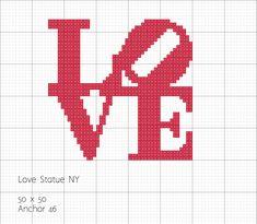 Love Statue - NY - em ponto cruz