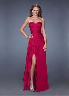 Charming Satin Chiffon Sweetheart Neckline Floor-length A-line Prom Dress