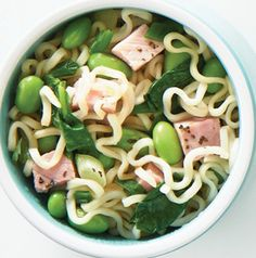 Banish boring Ramen from your house! Discard the seasoning packet and use the noodles to make Ham, Spinach and Edamame Noodle Bowls. Talk about a quick and easy one-dish dinner!