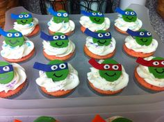 Ninja Turtle cupcakes I made for a 4 year old's birthday.