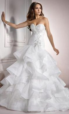 Beading Ball Gown Lace Up Vintage Organza Wedding Dress