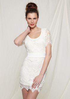 Ark & Co, White Crochet Mini Dress... would be the cutest little wedding dress! On Ideeli for $39.99
