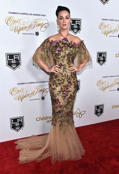 Katy Perry wore a Marchesa embroidered gown with cutout detail to the Childrens LA Once Upon A Time Gala.