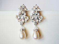 Hradini Vintage Inspired Fleur Elegant Pearl Earrings from Romantic Brides