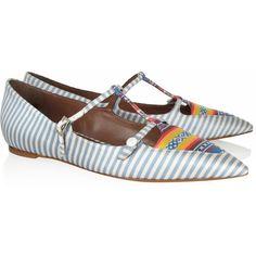 Tabitha Simmons Heart striped silk-twill point-toe flats