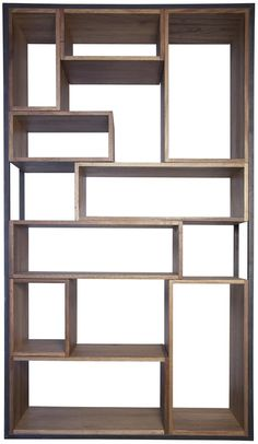 Knots, gouges, cracks and nail holes are inherent characteristics of this retro Walnut wood and metal bookcase. Different size boxes make a cohesive shelving unit and . Wood Bookcase, Decor, Building Furniture, Bookcase, Furniture, Home Furniture, Pallet Furniture Living Room, Home Decor, Living Room Furniture