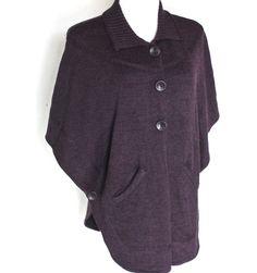 Women's Large Coldwater Creek Purple Wool Blend Knit Button Poncho Sweater #ColdwaterCreek #Poncho