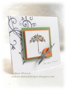 Play Date Cafe challenge, shower card with umbrella. Stampin' Up! Stamps.