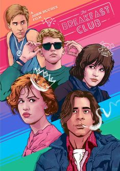 """geekynerfherder:  """" 'The Breakfast Club' by Snapper, a new limited edition print for a screening of of the film by Cult Cinema Sunday on Sunday March 11 at Hull's Fruitspace Cinema.  A3 sized digital print on 350gsm heavyweight silk paper in a hand..."""