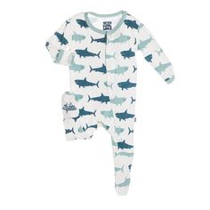 KicKee Pants Little Boys Footie Pajama- Natural Magalodon, 6- 12 Months