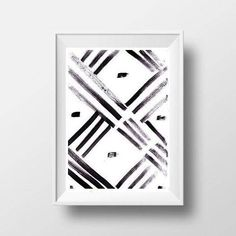 Abstract Simple Minimalist Painting Black White Brush Stroke