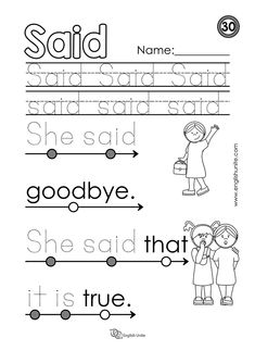 """Beginning Reading 30 – Said – English Unite Beginning reading – Said: Each worksheet focuses on one word, and once that word is learned, it is dotted out on all future worksheets. The focus word of this worksheet is the word """"said"""". Preschool Sight Words, Teaching Sight Words, Phonics Words, Sight Word Activities, Sight Word Worksheets, Reading Worksheets, Kindergarten Worksheets, Phonics Worksheets, Kindergarten Writing"""