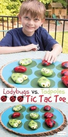 What a great idea for an #outdoorgame! Homemade tadpoles vs. ladybugs. This is too cool! #tictactoe http://www.attagirlsays.com/2014/05/29/tic-tac-toe-game
