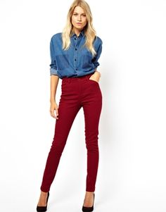 ASOS - Denim Boyfriend Shirt with Shadow Pocket in Mid Stonewash paired with High Waist Trousers in Cotton Twill
