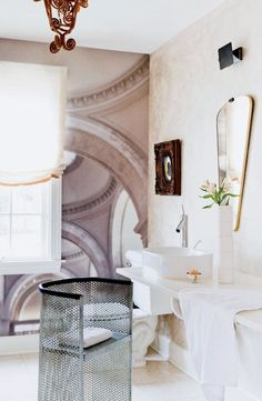 Tour a Designer's Own Luxe, Eclectic Virginia Home //  Bathroom With Mesh Metal Chair