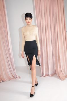 Short Black Dress & Nude Top. FW19 MURMUR