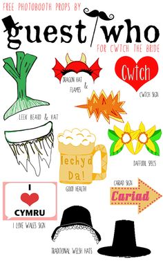 Free Download: DIY Welsh Photo Booth Props from Guest Who for Cwtch the Bride