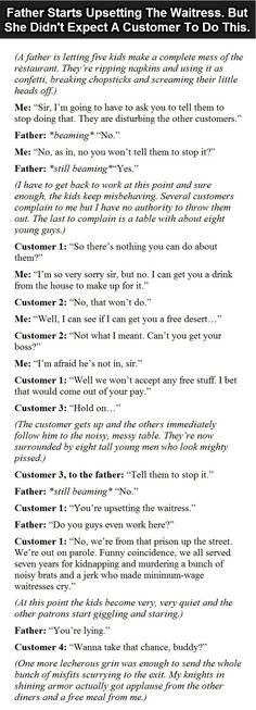 Father Starts Upsetting The Waitress. But Then A Customer Did Something Unexpected.