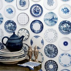 Blue and White Plates on the Wall add Charm