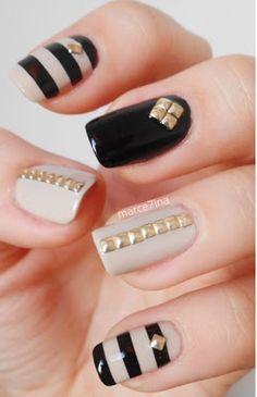 Black & Tan nails