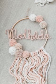 Dream catcher MATHILDA wall decoration- Traumfänger MATHILDA Wanddeko Beautiful dream catcher personalized with pompoms … - Diy Crafts To Sell, Home Crafts, Easy Crafts, Valentine Day Gifts, Valentines, Beautiful Dream Catchers, Dream Catcher Craft, Painted Christmas Ornaments, Snowman Ornaments