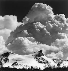 1969 Thundercloud, Unicorn Peak, Yosemite National Park, California [double peak and snowy saddle, billowing clouds] by Ansel Adams Edward Weston, Ansel Adams Photography, Photography Series, Nature Photography, Photography Couples, Urban Photography, Artistic Photography, Color Photography, Photography Ideas