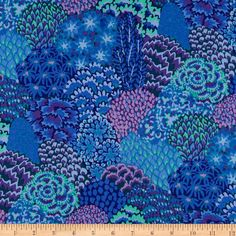 Kaffe Fassett Fall 2012 Collective Oriental Trees Blue from @fabricdotcom  Designed by Kaffe Fassett for Westminster/Rowan Fabrics, this cotton print fabric is perfect for quilting, crafts, apparel, and home décor accents. Colors include shades of blue, mint green, hunter green and shades of purple.