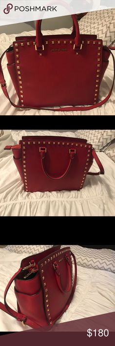 Studded Selma MK Satchel Red Large Studded Selma Michael Kors Satchel KORS Michael Kors Bags Satchels