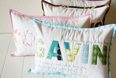 Love these name pillows, so pretty and great use of scrap fabrics
