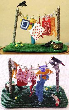 """Clothesline, 6"""", with towels, tank top, red bra, pantyhose, sock, laundry basket and two crows, one flying in. Yellow flowers in grass. All glass beads. By Judellen, Sold for $850."""