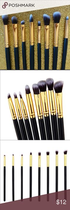 8 PC Black/Gold Eye Brush Set These brushes are perfect for any makeup collection. It's a perfect variety of a 8 to achieve any eye look. They are about 7 inches in length depending on the bristle length. ❗️BUNDLE FOR DISCOUNTS❗️ Makeup Brushes & Tools