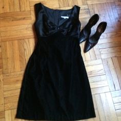 "HP 1/3/16Black Satin & Velvet Cocktail Dress Style Obsession Host Pick!Perfect for prom, special events, or a night out. Black velvet skirt with satin top. Cocktail dress. Three decorative buttons on bodice. Half zipper and bow tie sash in back. Approximately 34"" from shoulder to hem. Never worn but tag has come off, only plastic tag remains. If you have questions, please ask. Rampage Dresses"