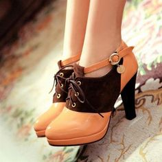 Korean style patchwork heels...I wish I could wear these to school.