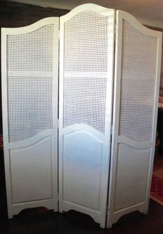 TALL Antique English BARLEY TWIST Room Divider 3 Panel Dressing