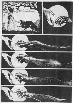 """deleriousfromcoffee: """" the-golden-ghost: """" whatamievensaying: """" annabellioncourt: """" There's a lovely old English myth that if someone who truely loved and trusted the werewolf called it by name that. Dylan Dog, Dog Comics, Werewolf Art, Slasher Movies, Pattern Photography, Patterns In Nature, Old English, Dark Art, Pretty Pictures"""